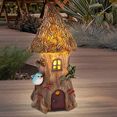 LED Solar Lampe Garten Beet Deko Beleuchtung Baum Haus Design Leuchte braun grün