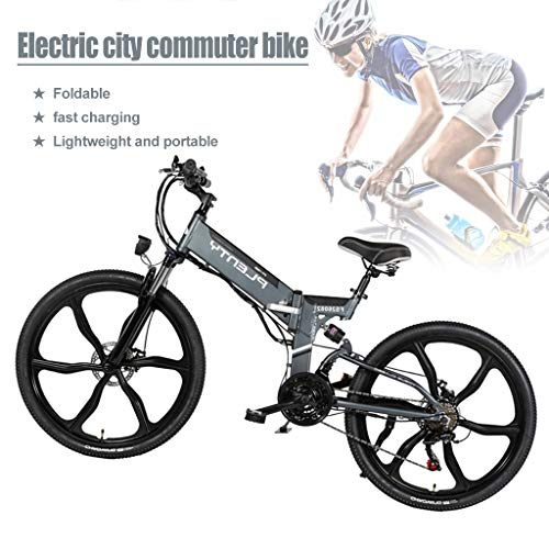 480W Adults Electric Bicycle Folding Removable Electric Mountain E-Bike with Removable 10Ah Battery 7-Speed Gear Speed E-Bike(Black) (Color : Grey)