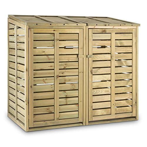 Waldbeck Ordnungshüter - Mülltonnenbox, Mülltonnenverkleidung, Abfalltonnenschrank, für 2 Tonnen á 240 Liter, Hebekette, Fronttüren, Klappdeckel,...