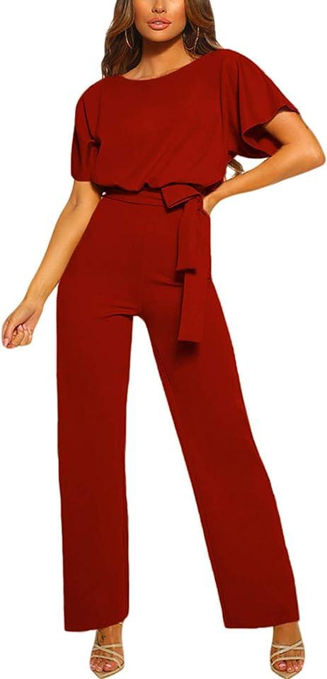 Damen Langarm O-Ausschnitt Elegant Lang Jumpsuit Overall Hosenanzug Playsuit Romper S-XL