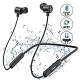 Cuffie Bluetooth Mpow A7, Auricolari Wireless IPX7 con Archetto da Collo con Bluetooth 5.0, Auricolari Magnetici Sport In-ear con 10 Ore di Gioco, Cuffie Stereo Hi-Fi con Microfono e CVC 6.0