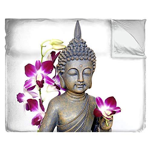 Kuscheldecke Motiv Buddha mit Orchideen | 3 Größen | Tagesdecke Premium superweich | Fotodruck, Größe: B 100 x H 75 cm