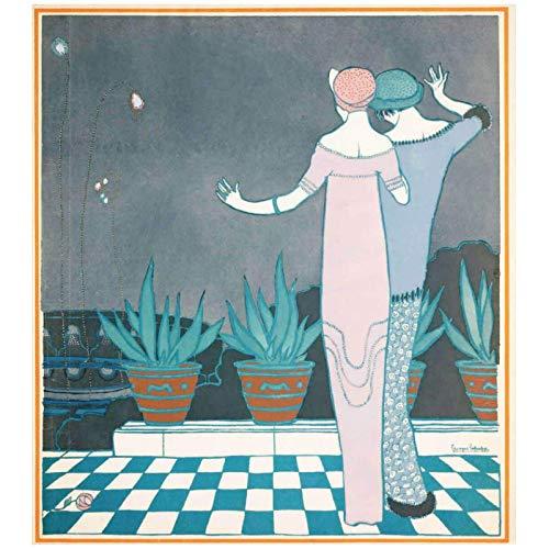 LIUXR George Barbier Paul Poiret diseños Ilustraciones Impresiones artísticas póster Impresiones en Lienzo Cuadros artísticos de Pared decoración del hogar -60x60cm sin Marco