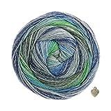 Lana Grossa Gomitolo Bene - Gomitolo di lana pettinata, 200 g, con gradiente di colore e cuore, verde/grigio/medio/blu/jeans/blu scuro