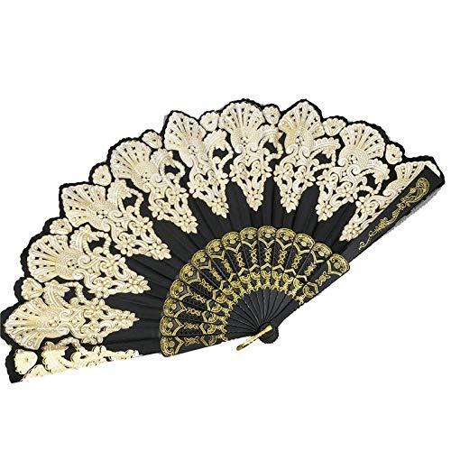 siqiwl Ventilador plegable 1pc Vintage Chino Estilo Étnico Fiesta de Danza Boda Tono Dorado Mano Flor Ventilador Plegable