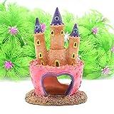 Bomcomi Acuario Rosa Castillo de la Princesa Pescado Cueva Adorno de Peces Tanque DecorativeResin OrnamentPet Decoración