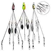 Antenors 5 Arms Fishing Lures Alabama Umbrella, 3 Pack Rig Fishing Lures Bait Rigs for Bass Fishing Artificial Bait Fishing Baits and Lures, Chase Baits Fishing Lure Kit Artificial Bait