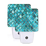 Set of 2 Led Night Lights, Turquoise Blue Auto Dusk-to-Dawn Sensor Night Lamp Home Decorative for Adult