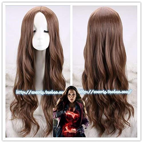 LJYNB Peluca de Cosplay debruja escarlata para mujerWanda Django Maximoff juego de rol peluca de pelo largo ondulado disfraces