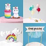 iZoeL Tortendeko Einhorn Geburtstag Kuchen Regenbogen Happy Birthday Girlande Luftballon Wolke Kuchen Topper für Kinder Mädchen Junge - 4