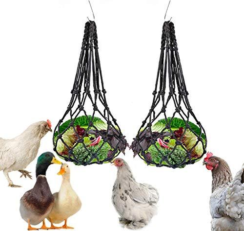 LeerKing 2 Piezas Bolsa de Malla de Verduras y de Carne Comedero Colgante para Loros Bolsa de Red para Frutas y Verduras para Pajaros Silvestres Canarios Gallos Agapornis Conejo Chinchilla