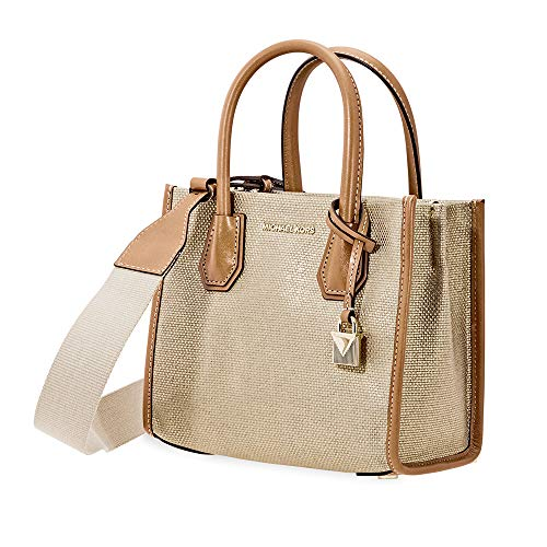 """Canvas (cotton); trim: leather; lining: polyester Zip closure 2 interior open pockets, 1 center zip compartment & 3 credit card pockets 4-1/4""""L handles; 22-1/4""""L to 24-1/2""""L removable strap 8-3/4""""W x 7-1/2""""H x 4""""D"""