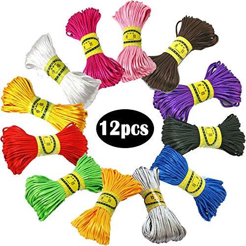 12 Stücke 25mm Seide Nylonschnur, für Geflochtene Halskette Armband Perlen Schmuckherstellung Zubehör, 20 Meter Jedes Bündel (12 Farben) (B)