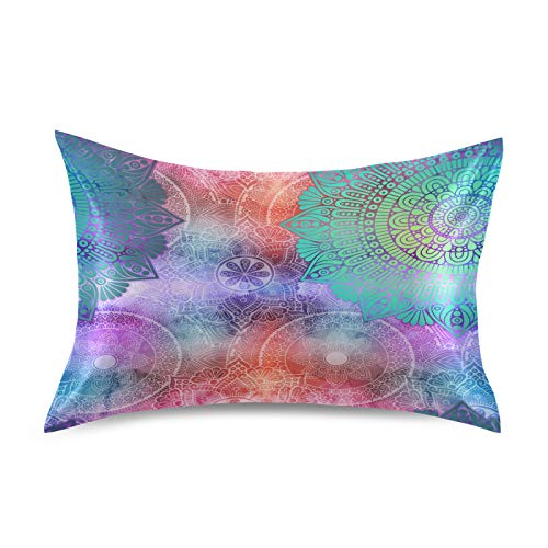 F17 Funda de almohada de satén étnico mandala flor floral suave transpirable sofá funda de almohada funda de cojín para la piel del cabello, decoración del sueño, 20 x 26 pulgadas