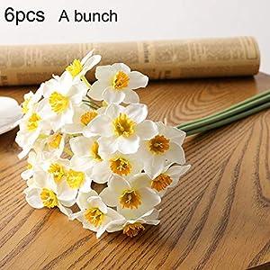 Silk Flower Arrangements Nuxn 12PCS Artificial Daffodil Tulips Flowers 15.7inch White Narcissus Flower Silk Plants Daffodils Bundles Home Office Farmhouse Wedding Centerpiece Arrangements Decor for Vase