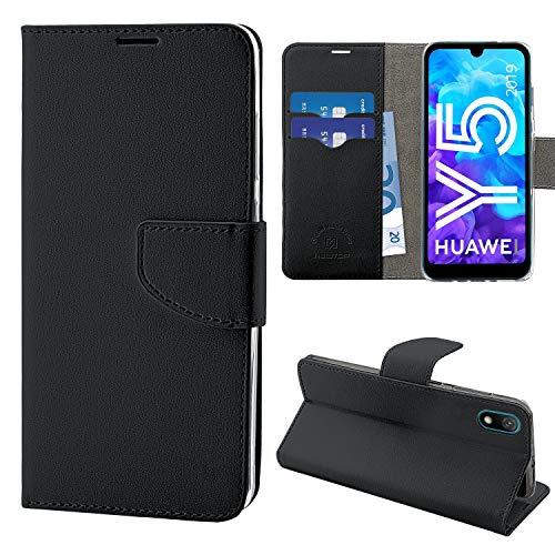 NewTop Cover Compatibile per Huawei Y5 2019, HQ Lateral Custodia Libro Flip Magnetica Portafoglio Simil Pelle Stand (Nero)