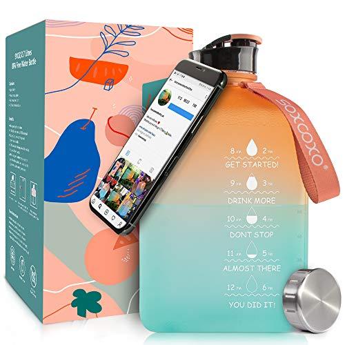Socoo 2.7Litre Half Gallon Water bottle Wasserflasche für Workout, Outdoor, Fitnessstudio, Yoga, water jug for fitness gym 91oz water bottle (Gradient)