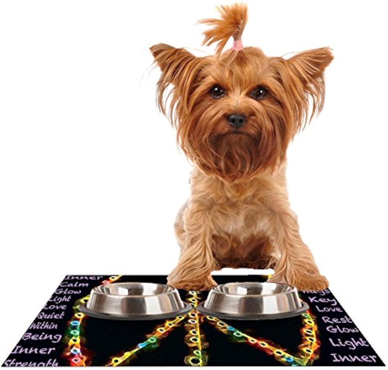 Kess InHouse Anne LaBrie Peaceful Meditation  Black Rainbow Feeding Mat for Pet Bowls, 18 by 13