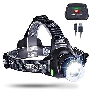 KINGTOP Lámpara Frontal Impermeable Linterna LED 1800 Lumens Linterna de Cabeza con Batería Recargable 3 Modos de… 9