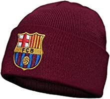 Barcelona F.C. Offizielle Fußball-Strickmütze, Motiv: Wappen des FC Barcelona, ideal als Geschenk für...