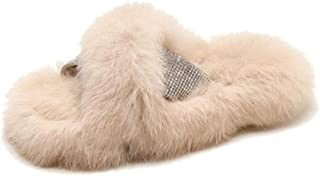 Indoor Slipper Soft Plush Cotton Slippers Shoes Non Zhaozb (Color : Beige, Size : 6)