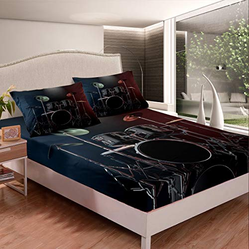 Drum Kit Bed Sheets Rock Music Theme Decor Bed Sheet Set for Kids Boys Youth Teens Cool Musical Instrument Bedding Set Popstar Party Fitted Sheet With 2 Pillowcase 3Pcs Bedding Double