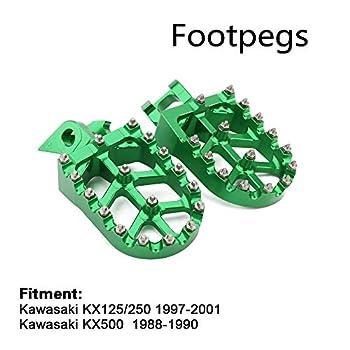 Foot Pegs Footpegs Footrest Pedals Billet MX Wide Aluminum Foot rests For KX125 KX 125 250 KX250 1997-2001 Motorcycle dirt bike Green
