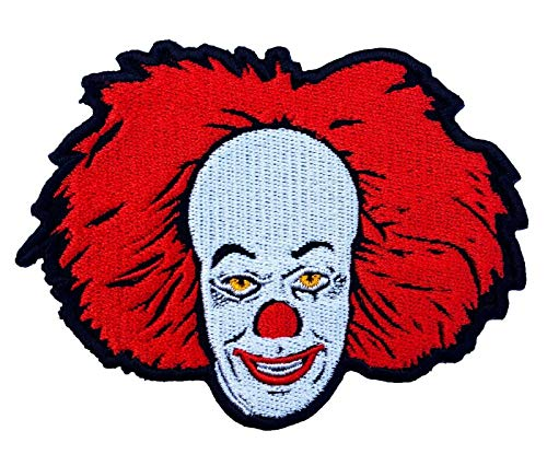 Toppe fai da te film film film rare orrore toppe termoadesive adesive retro cult slasher (Pennywise Clown IT 90 mm)
