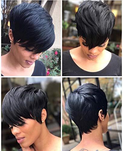 Court Pixie Coupe Cheveux Court Noir Coiffures Synthétique Perruques Pour Les Femmes Résistant À La Chaleur Postiches Femmes Mode Perruques
