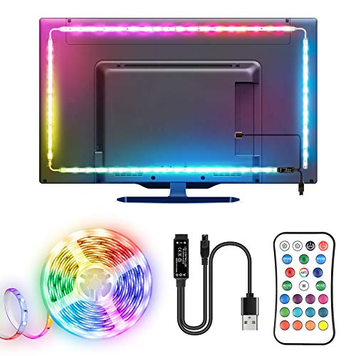Tira LED TV, TOPYIYI 3M Tiras LED USB con Mando a Distancia, Múlticolores Cinta de Doble Cara 16 Colores y 21 Modos, 5050 RGB Luces LED para TV 40-65 Pulgadas, Habitacion, Cine en Casa , PC, Monitor