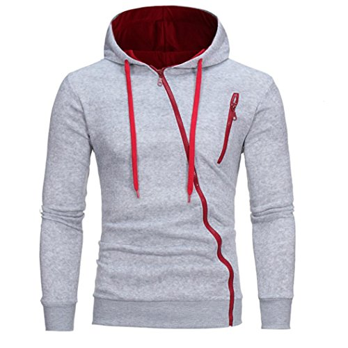 IMJONO Herren Sweatshirt Männer Langarm Hoodie Kapuzen Tops Jacke Mantel Outwear(EU-44/CN-M,Grau)
