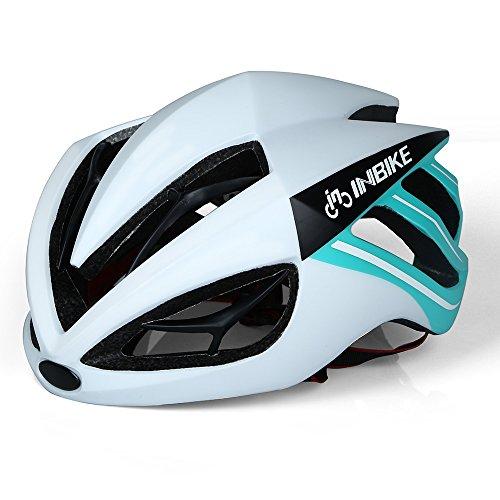 Casco de ciclismo INBIKE ultraligero con lentes magnéticos desmontables, White+Green no Lens