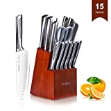 Kitchen Knife Sets, Cookit 15-Piece German Stainless Steel Chef Knives Set with Wooden Block Holder, Manual Steel Sharpener, Steel Handle Knife Block Set