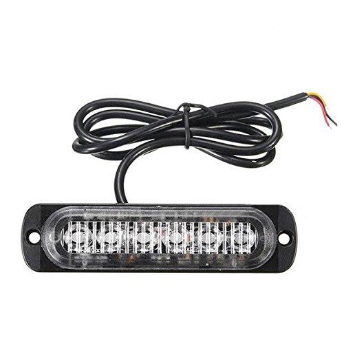 WINOMO Gyrophare à 6 LED 19 modes ultra fin signal d'urgence/flash pour camions/motos Lumière bleue 12 W 12-24 V