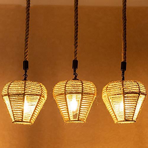 Libuty Cuerda de cáñamo Iron Art 3 Head Retro Chandelier Americano Country Hotel Restaurante Decoración Colgante Luces Dormitorio Sala de Estar Decoración LED Lámpara Colgante