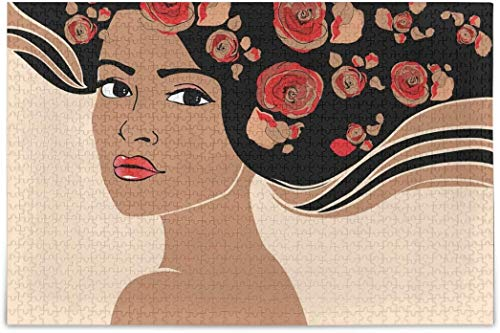 Rompecabezas para adultos 1000 - rosas de pelo de niña rompecabezas difíciles piezas para adolescentes juegos de rompecabezas únicos