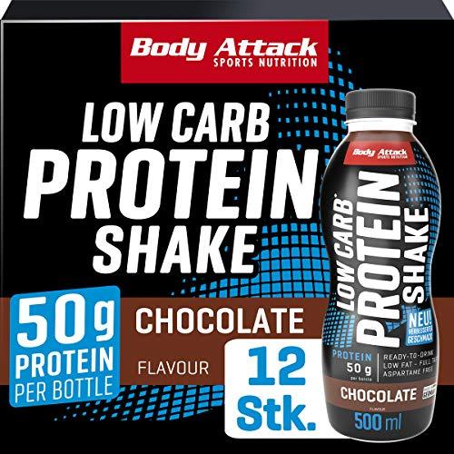 Body Attack Low Carb Protein Shake, Milch-Eiweiß, Fertigdrink in 500ml Flasche, Chocolate (12 x 500ml)