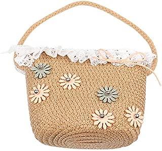Docooler Girls Hand Woven Bag Flower Lace Handbag Rattan Straw Children Kids Bohemian Beach Holiday Bags Tote