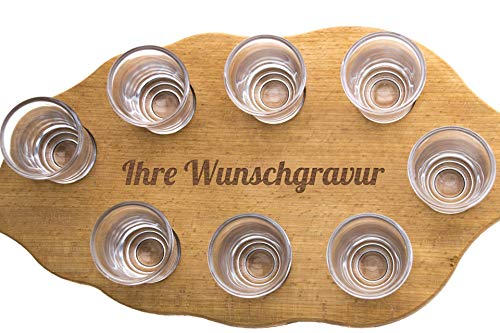 SNEG-DE Schnapsglasträger mit individueller Gravur inkl. Schnapsgläser | individuelle Textgravur | Geschenk | Abschied| Geburtstag | Junggesellenabschied