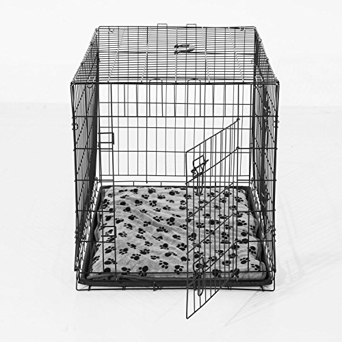 Transportin Perros 60x46x51cm + 1 Cojin Incluido Jaula con Asa Transporte Reja de Alambre de Hierro