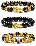 SOOWOOT 3Pcs Feng Shui Black Obsidian Bracelets Set - Good Luck Amulet Dragon...