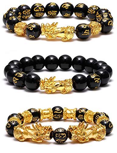 SOOWOOT 3Pcs Feng Shui Black Obsidian Bracelets Set - Good Luck Amulet Dragon Lucky Charm Bracelets Pi Xiu Pi Yao Attract Lucky Wealthy bracelets for women men