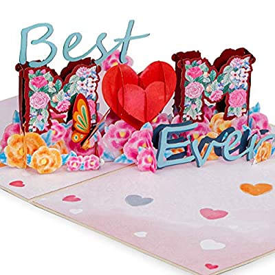 """Paper Love Best Mom Pop Up Mothers Day Card, Handmade 3D Popup Greeting Cards for Mother's Day   5"""" x 7"""""""