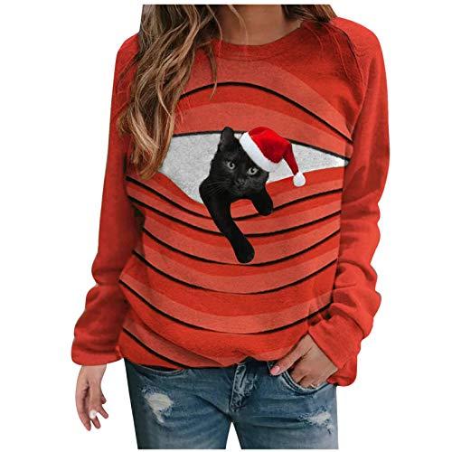 SOMESUN Damen Weihnachtsdruck T-Shirt Langarm Tops Casual Cat Print Langarm Pullover...