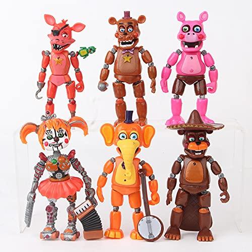 6 Unids / Set Five Nights At Freddys Figuras De Acción DeFreddyJuguetesFNAF14CmPVCGlobo Chica Resplandor Oso Anime Regalos para Niños