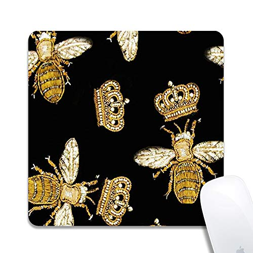 Computer Queen Bee with Crown Square Mouse Pad (7.8x7.8 Inch), Printed Rubber Desk Accessories Mouse Mat