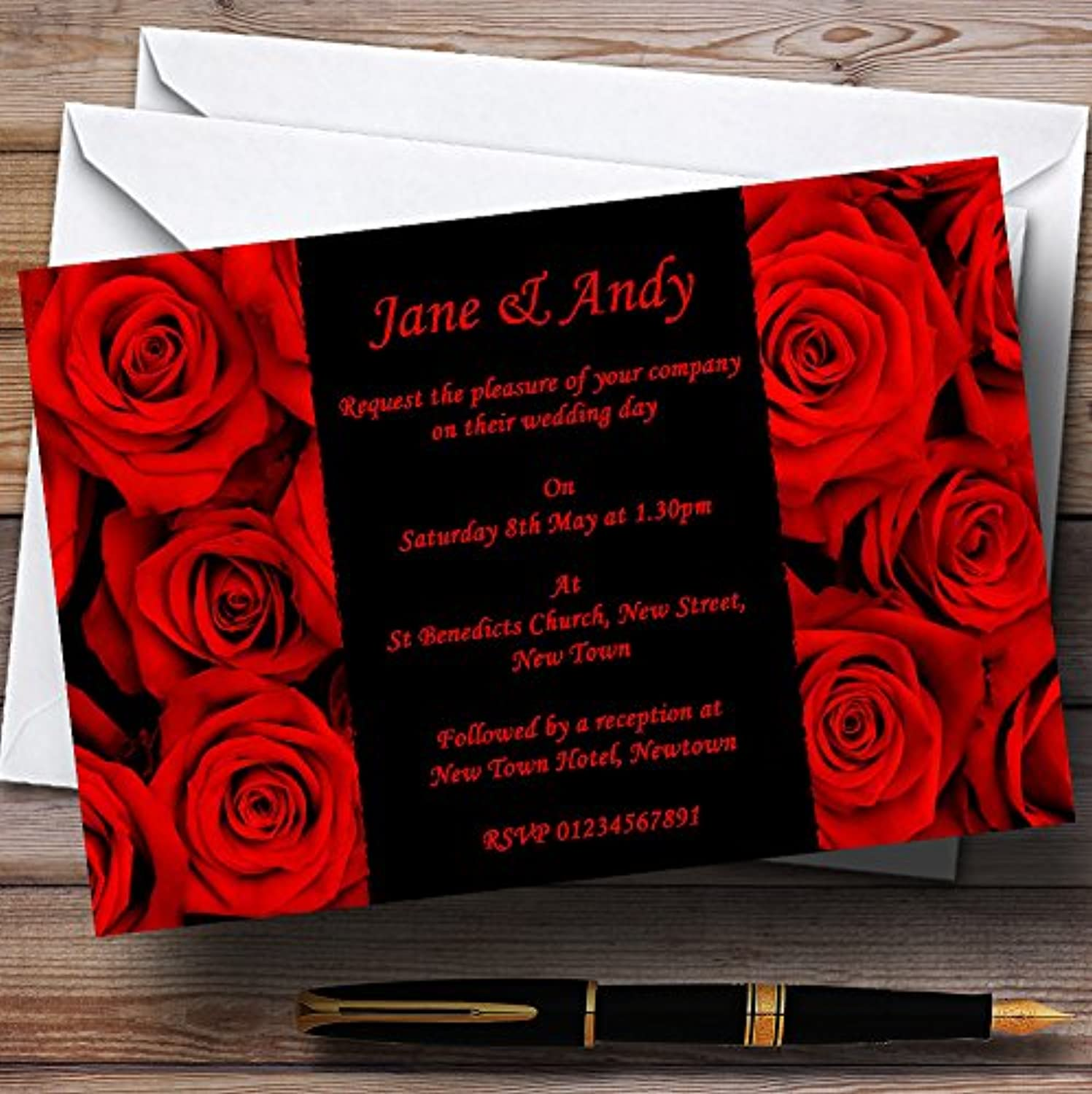 Gorgeous Deep Red pink Personalised Evening Reception Invitations   Invites & Envelopes
