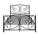 WEIBO 4FT6 Luxury Designed Double Metal <span class='highlight'>Bed</span> Frame with Crystal Finials Black Iron <span class='highlight'>Bed</span>stead <span class='highlight'>for</span> Kids Adult <span class='highlight'>Bed</span>room