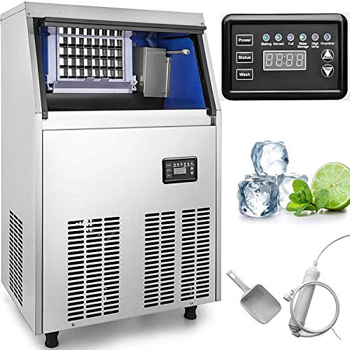 VEVOR 110V Commercial Ice Maker 88LBS/24H with 44LBS Storage Capacity 32 Cubes Per Plate Include Scoop and Connection Hoses for...