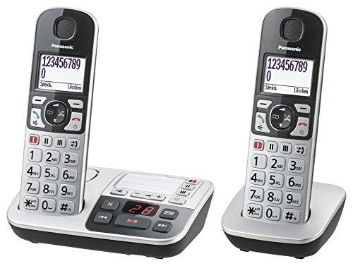 Panasonic KX-TGE522GS Seniorentelefon mit Anrufbeantworter, Notruftaste, Großtastentelefon, schnurlos, schwarz-silber